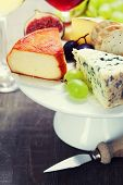 Wine and cheese plate - close up image