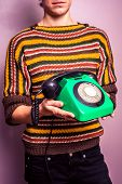 Young Woman With Old Rotary Phone