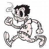 punk boy walking and smoking cartoon
