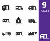foto of trailer park  - Vector black trailer icons set white background - JPG
