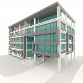 Side Of 3D Condominium Exterior Design In White Background