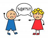 foto of rude  - Cartoon man and woman arguing and cussing - JPG