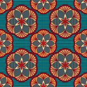 Seamless color geometric flowers vector wallpaper pattern.
