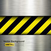 Metallic background with warning stripes, vector illustration.