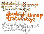 Hand Drawn Set of 3 Lower Case Letters - Vector Alphabet