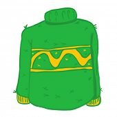 green wool sweater cartoon doodle