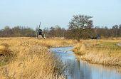 Windmill along a stream through wetland
