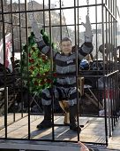 KIEV, UKRAINE - December 29, 2013: Ukrainian revolution, Euromaidan. Yanukovich in jail, installatio