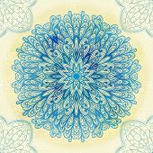 Hand Drawn Ethnic Circular Blue Ornament. Eps10
