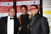 LOS ANGELES - FEB 23:  Carlo Bocchi, Naomie Harris, Bono at the LA Italia Opening Night at TCL Chine