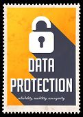 Data Protection on Yellow in Flat Design.