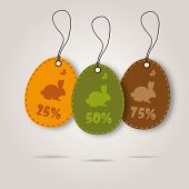vector set of three easter day celebration shopping tags.