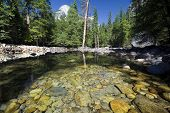 Reflections in Merced river with North Dome in background, Yosemite National Park,California, USA