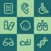 Medicine web icon set 2, green square buttons set
