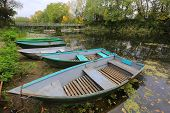 Boats on moorage at autumn time