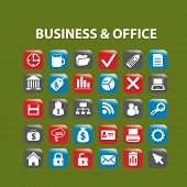 business, office buttons, icons set, vector