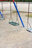 Empty Chain Swings On Park  Playground