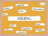 foto of musky  - Fishing Corkboard Word Concept with great terms such as gamefish lure pole and more - JPG