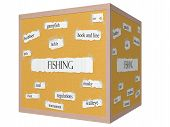 image of musky  - Fishing 3D cube Corkboard Word Concept with great terms such as gamefish lure pole and more - JPG