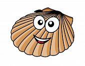 Cartoon seashell with a happy smile