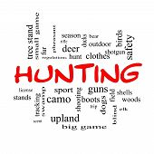 picture of hunt-shotgun  - Hunting Word Cloud Concept in red caps with great terms such as shotgun game deer and more - JPG