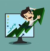 Businessman Rising Arrow With Growing