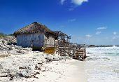 Wooden hut on the seashore. Cayo Largo's island Cuba