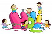 pic of holi  - easy to edit vector illustration of kids enjoying Holi - JPG