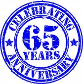 Celebrating 65 years anniversary grunge rubber stamp, vector illustration