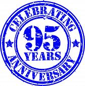 Celebrating 95 years anniversary grunge rubber stamp, vector illustration
