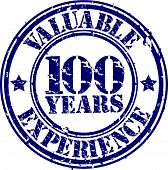 Valuable 100 years of experience rubber stamp, vector illustration