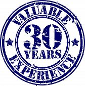 Valuable 30 years of experience rubber stamp, vector illustration