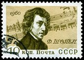 Vintage Postage Stamp. Frederic Chopin.