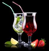 picture of mojito  - alcohol cocktail set with tasty summer fruits - JPG