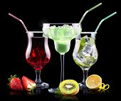 stock photo of pina-colada  - alcohol cocktail set with tasty summer fruits - JPG