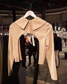 Elegant Jacket On Display At Mipap Trade Show In Milan, Italy