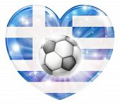 Greek Soccer Heart Flag