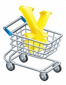 stock photo of yen  - Yen currency trolley concept of Yen sign in a supermarket shopping cart or trolley - JPG