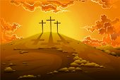 stock photo of calvary  - easy to edit vector illustration of calvary crucifixion with three crosses - JPG