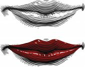 Mouth with red lips in engraving style