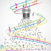 Colorful Musical Notes coming out of Microphone