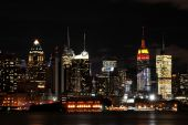 Manhattan Skyline.  Empire State Building Showing Chinese Colors