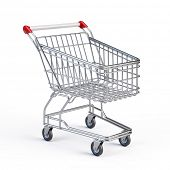 Supermarket shopping cart isolated on white