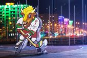 MINSK, BELARUS - FEBRUARY: Volat, the official mascot of the 2014 IIHF World Championship