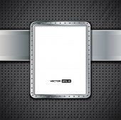 Metal panel - empty billboard with metal frame and dark background