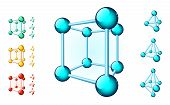 pic of tetrahedron  - Set of multicolored molecular structures of different forms - JPG