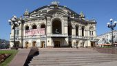 KIEV, UKRAINE - AUGUST 20, 2013: View to the National Opera House in Kiev. The building designed by