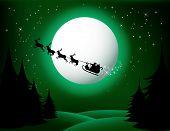 Santa`s sleigh - vector (green version)