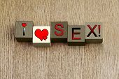 I Love Sex, Sign Series for Relationships, Romance and Valentines.