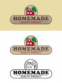 Homemade Product Label with Farmhouse Vector Illustration. Shaded, flat design and black and white v